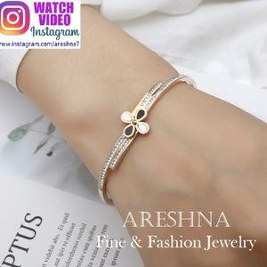 Trendy Clover Swarovski Crystals Bracelet Bangle